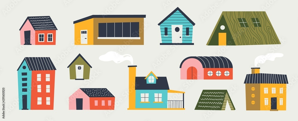 Fototapeta Trendy houses. Cartoon tiny buildings with hand drawn textures trees and weather elements with different roof. Vector illustration paper cut flat colored design for funny games interface