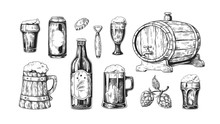 Hand Drawn Beer. Vintage Woode...