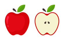Red Apple Icon. Vector Red Apples That Are Split In Half From The White Background.