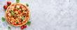 Leinwanddruck Bild - Fresh vegetarian pizza on light blue background