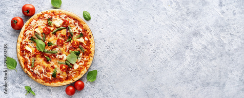 Fresh vegetarian pizza on light blue background