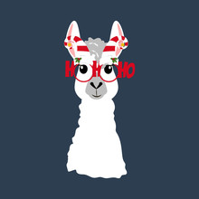 Llama In Christmas Hat Illustr...