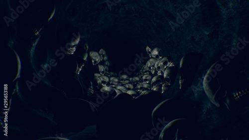 Dark Halloween Skull Cave Fototapet
