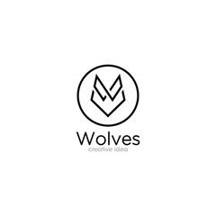 Creative Wolf Outline Logo Design Template