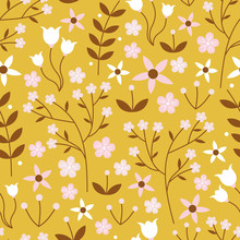 Vector Seamless Pattern Of White, Pink And Brown Flowers And Vines On A Mustard Yellow Background. Great For Textiles, Gift Wrap, Bed Covers, Textiles, Stationery Designs, Gardening Items.