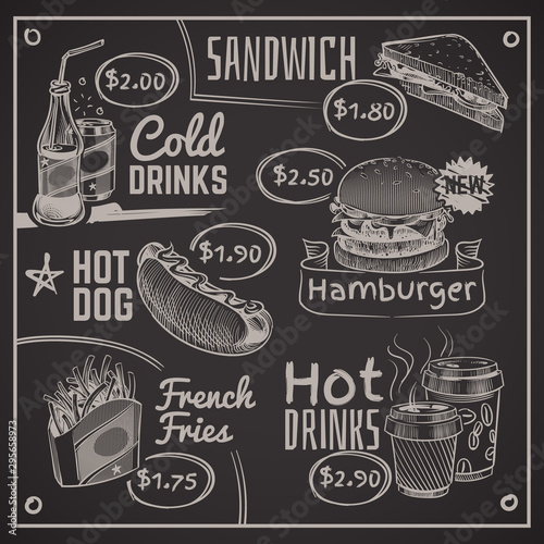 Poster Affiche vintage Fast food menu. Coffee, burger and hotdog, donut and fries, ice cream and cola, sandwich. Chalk drawing restaurant vector illustration