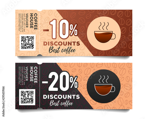 Photo Coffee discount coupon voucher with torn off part, with coffee cup and beans gra