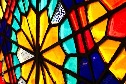 Fotomural  A beautiful stained glass window inside a church.