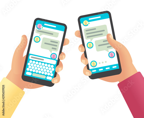 Obraz Hands holding phones with message. Social networking communication, touch screen smartphone app with online chat cartoon vector design - fototapety do salonu
