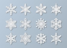 Paper Snowflakes. New Year And Christmas Papercut 3d Snowflake Elements. White Winter Snow Ornament Decoration, Origami Vector Set