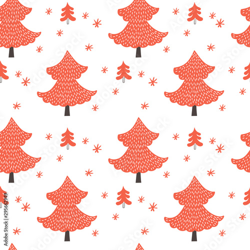 obraz lub plakat Christmas trees seamless pattern on white background. Vector