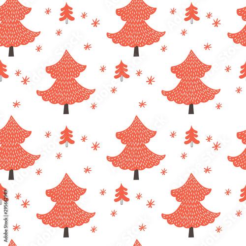 fototapeta na ścianę Christmas trees seamless pattern on white background. Vector