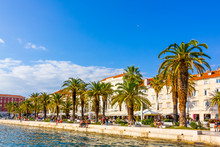 Seaside Promenade At The Diocletian's Palace In Split, Croatia