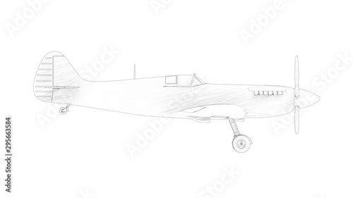 Photo 3d rendering multiple technical drawing views of a Spitfire