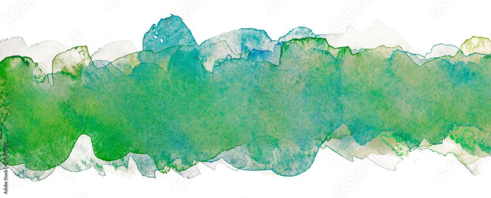 Fototapeta grunge watercolor multilayer abstract background blue; green stripe line element for design