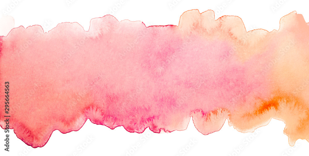 Fototapeta stripe watercolor background with pink and orange overflow, element for design of cards, print and web copyspace