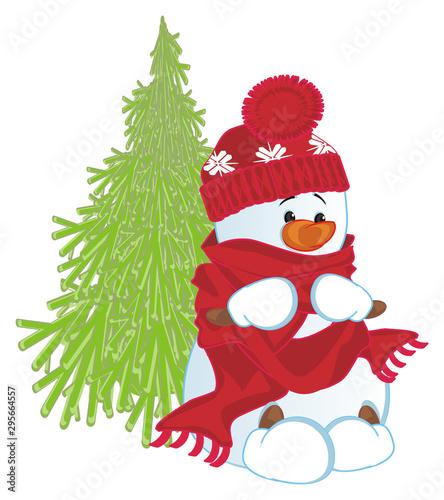 Spoed Fotobehang Voor kinderen funny snowman and Christmas tree