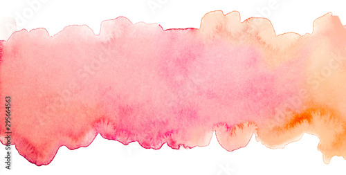 Fototapeta stripe watercolor background with pink and orange overflow, element for design of cards, print and web copyspace obraz