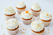 Group Of Cupcakses With Cream,...