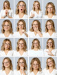 Beautiful woman with different facial expressions and gestures