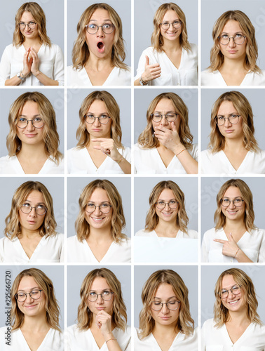 Canvastavla Beautiful woman with different facial expressions and gestures