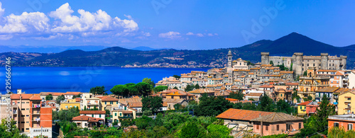 Most beautiful medieval villages (borgo) of Italy, Panoramic view of lake and town Lago di Bracciano
