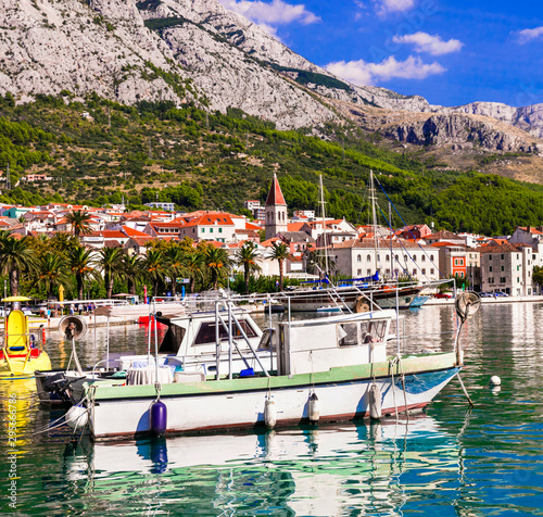 beautiful Adriatic coast. Makarska riviera in Croatia, Makarska town