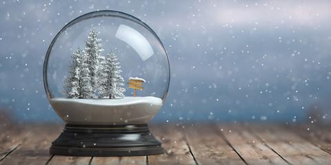 Merry Christmas snow globe with fri trees on winter snowfall background.