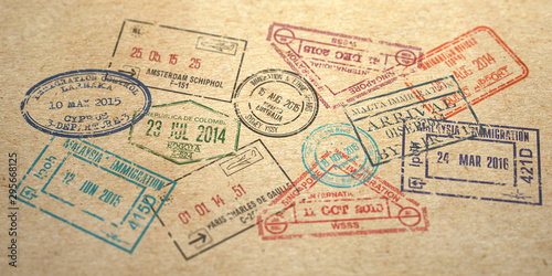 Background from different visa stamps on craft paper, Tablou Canvas