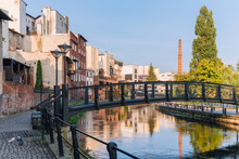 Bydgoszcz. View Of The Architecture And Small Bridge On The Brda River