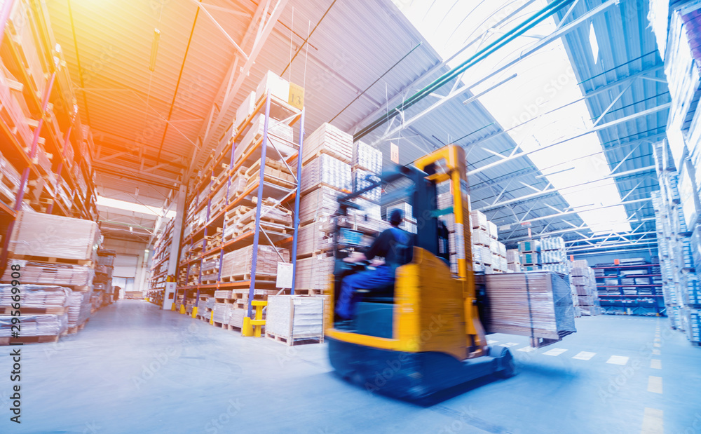 Fototapety, obrazy: Forklift loader in storage warehouse ship yard. Distribution products. Delivery. Logistics. Transportation.