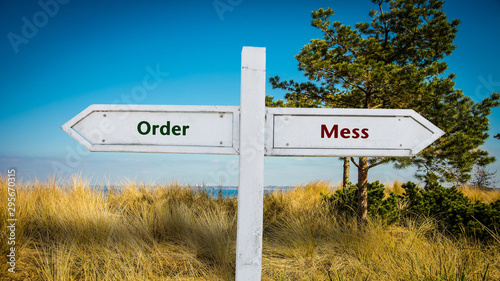 Photo Street Sign Order versus Mess