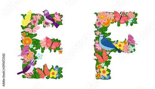 fancy collection of colorful letters E, F with butterflies and b