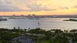 Aerial Miami Beach Haulover Park Biscayne Bay twilight footage