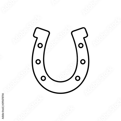Valokuvatapetti Outline Horseshoe Icon isolated on white background for website design, mobile application, logo, ui