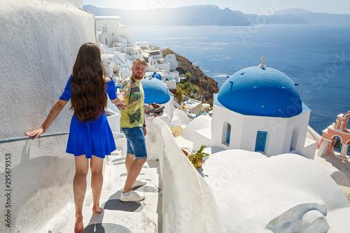 Fototapeta Young, beautiful couple in Greece obraz