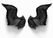 Pairs Of Black Devil Wings Iso...