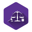 White Scales of justice, gavel and book icon isolated with long shadow. Symbol of law and justice. Concept law. Legal law and auction symbol. Purple hexagon button. Vector Illustration