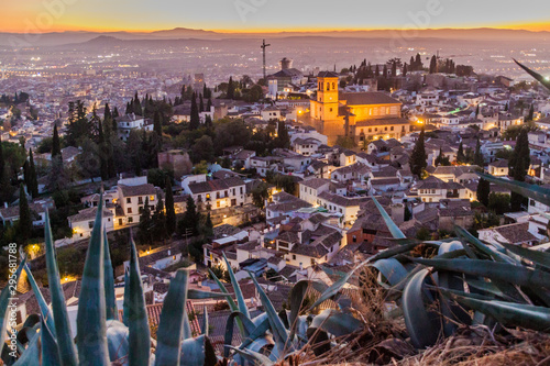 Fototapety, obrazy: Aerial view of Granada with Salvador church during the sunset, Spain.