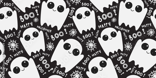 Seamless pattern with cute little cartoon ghosts on black background Canvas Print