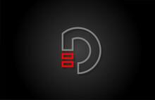 Alphabet Line D Letter Red Bla...