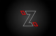 Alphabet Line Z Letter Red Bla...