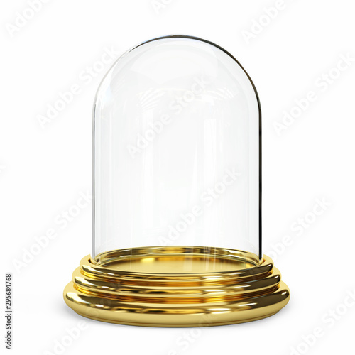Empty glass dome on а white background. Fototapeta