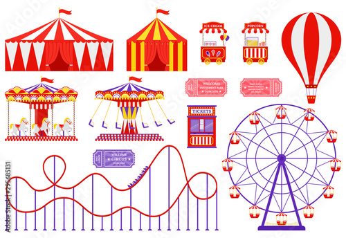 Amusement park, circus, carnival fair theme Wallpaper Mural