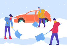 Winter Man And Woman Clean Car Out Of Snow, Remove Ice With Shovels, Cleaning Backyard Area. People Characters