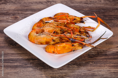 Grilled water prawn in the plate Wallpaper Mural