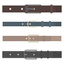 Set Of Different Flat Colored Belts, Vector Illustration.