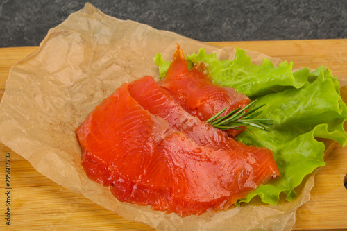 Sliced salmon fillet served rosemary Canvas Print