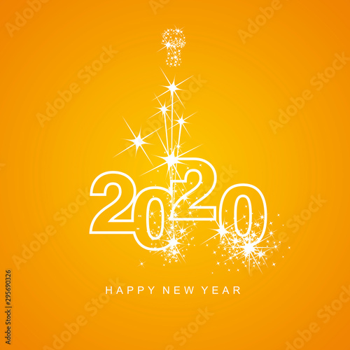 Obraz Happy New Year 2020 firework white line design numbers orange yellow background - fototapety do salonu