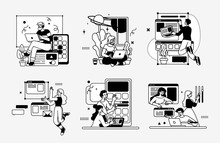 Designing Developing And Programming Technologies Illustrations. Outline Vector Style.